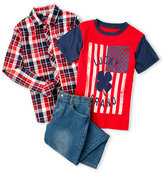 Lucky Brand Boys 4-7) 3-Piece Plaid Shirt & Jeans Set
