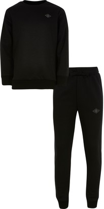 River Island Boys Black sweat and jogger outfit