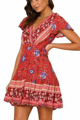Zilcremo Women Bohemian Dresses Summer Floral Short Sleeve Beach A-Line Mini Dress 5 L
