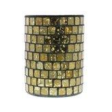 HomArt Mosaic Glass Hurricane - Med (Gold Luster)