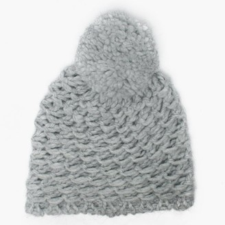 UGG Womens Yarn Light Grey Pom Pom Beanie Hat