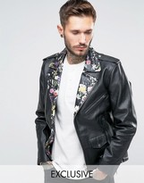 Reclaimed Vintage Leather Biker Jacket With Floral Collar
