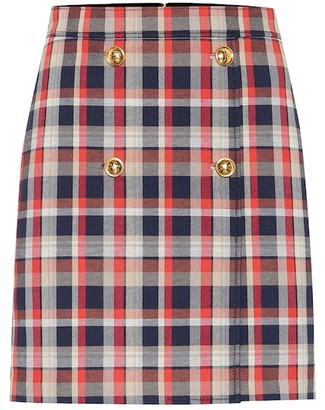 Tory Burch Checked cotton-blend miniskirt