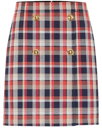 Tory Burch Checked cotton-blend miniskirt