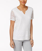 Alfred Dunner Rose Hill Lace-Overlay Top