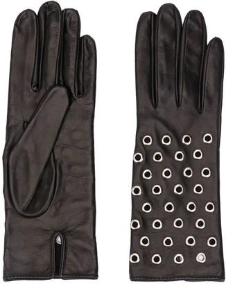 Manokhi Textured Eyelet Embellished Gloves
