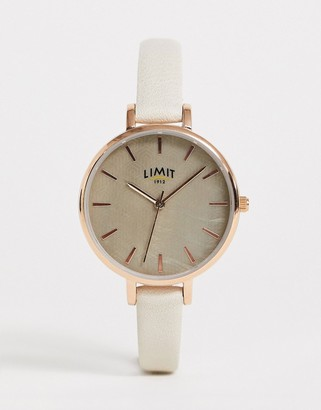 Limit faux leather watch in grey with geometric dial