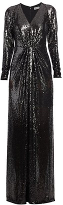 Rene Ruiz Collection Long-Sleeve Sequin Column Gown