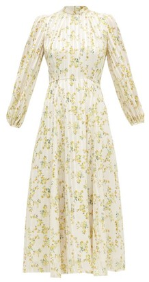 Beulah Sonia Floral-print Satin-stripe Chiffon Dress - Yellow White