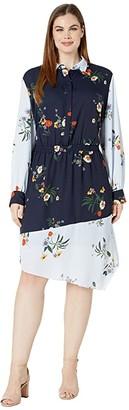 Vince Camuto Specialty Size Plus Size Long Sleeve Surreal Garden Asymmetrical Hem Shirtdress (Caviar) Women's Clothing
