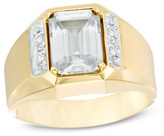 Zales Men's Octagonal White Topaz and Diamond Accent Ring in 10K Two-Tone Gold