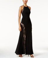 Night Way Nightway Lace Open-Back Halter Gown