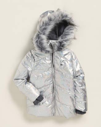 Calvin Klein Jeans Toddler Girls) Faux Fur-Trimmed Metallic Coat