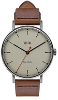 Vestal 'Sophisticate' Swiss Quartz Stainless Steel and Leather Dress Watch, Color:Brown (Model: SPH3L08)