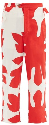 Bode Floral Cutout Applique Cotton Trousers - Red White