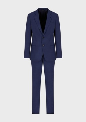 Giorgio Armani Slim-Fit, Half Canvas Fil-A-Fil Wool Suit From The Soho Line