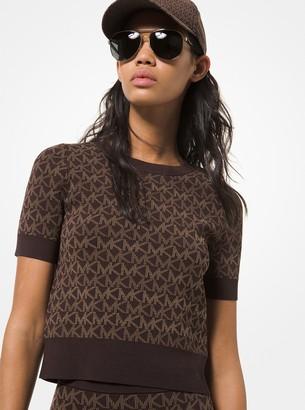 MICHAEL Michael Kors Logo Jacquard Short-Sleeve Sweater