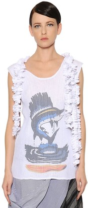 J.W.Anderson PRINTED PLEATED & FRILLED GAUZE TOP