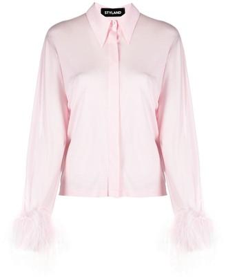 Styland Feather-Embellished Shirt