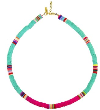 ALLTHEMUST Turquoise and Hot Pink Heishi Bead Yellow Gold Necklace