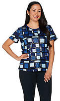 C. Wonder Sequin Plaid Short Sleeve Top