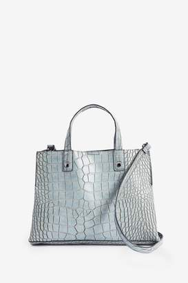 Next Womens Pale Blue Croc Effect Three Compartment Tote Bag - Blue