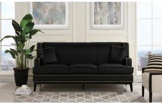 Mobilis Modern Soft Bonded Leather Sofa with Nailhead Trim Detail, Black