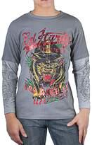 Ed Hardy Kids Panther Thermal Long Sleeve T-Shirt -Grey