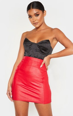 Lily Red Textured Seam Detail Mini Skirt