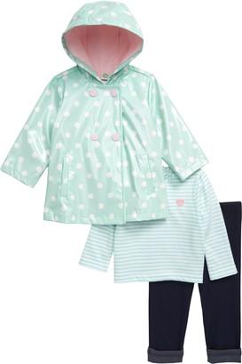 Little Me Polka Dot Rain Jacket, T-Shirt & Leggings Set