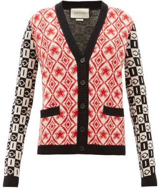 Gucci Logo-jacquard Wool Cardigan - Womens - Red Multi