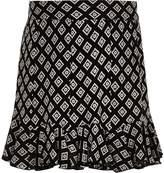 River Island Girls black mono print flippy skirt