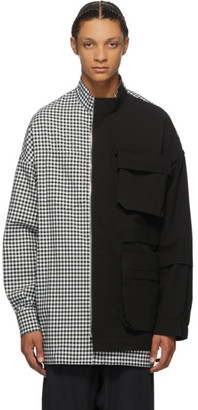 JERIH Black and White Gingham Check Shirt