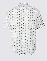 Marks and Spencer Pure Cotton Slim Fit Cactus Print Shirt