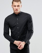 Replay Slim Stretch Poplin Shirt in Black