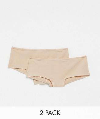 Hunkemoller Kim 2-pack cotton boxer briefs in beige