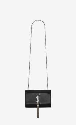 Saint Laurent Monogram Kate With Tassel Kate Small With Tassel In Reptile-embossed Patent Leather Black Onesize
