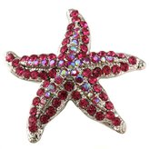 Hot Pink Fuchsia Starfish Charm Pin Brooch Wedding Prom Fashion Jewelry Necklace Pendant Compatible