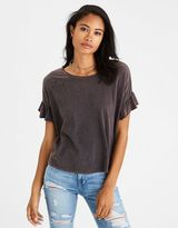 American Eagle Outfitters AE Destroyed Ruffle Sleeve T-Shirt
