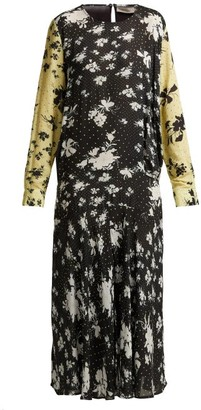 Preen Line Marin Floral Print Drop Waist Midi Dress - Womens - Black Multi