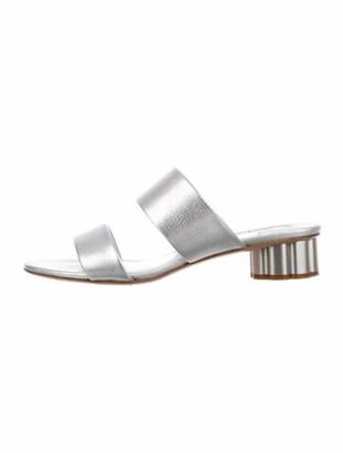 Salvatore Ferragamo Belluno Leather Slides Silver