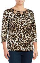 Rafaella Plus Animal Print Cotton Top