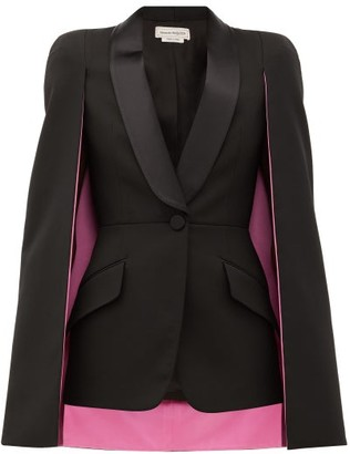 Alexander McQueen Cape-sleeve Single-breasted Wool-blend Jacket - Black
