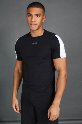 boohoo Mens Black MAN Short Sleeve T-Shirt With Sleeve Panel, Black