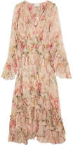 Zimmermann Mercer Floating Ruffled Floral-print Silk-georgette Dress - Cream