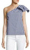 Milly Cindy One-Shoulder Gingham Shirting Top, Navy