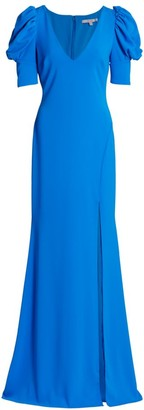 Badgley Mischka V-Neck Sculptural Sleeve Gown