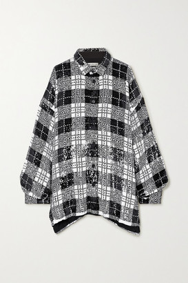 Balenciaga Oversized Checked Sequined Tulle Shirt - Black