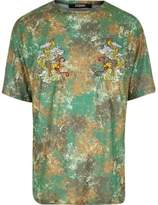 Jaded London River Island Mens Green camo dragon T-shirt