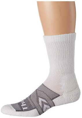 Thorlos 12-Hour Shift Work Crew Socks Single Pair (White/Grey) Crew Cut Socks Shoes